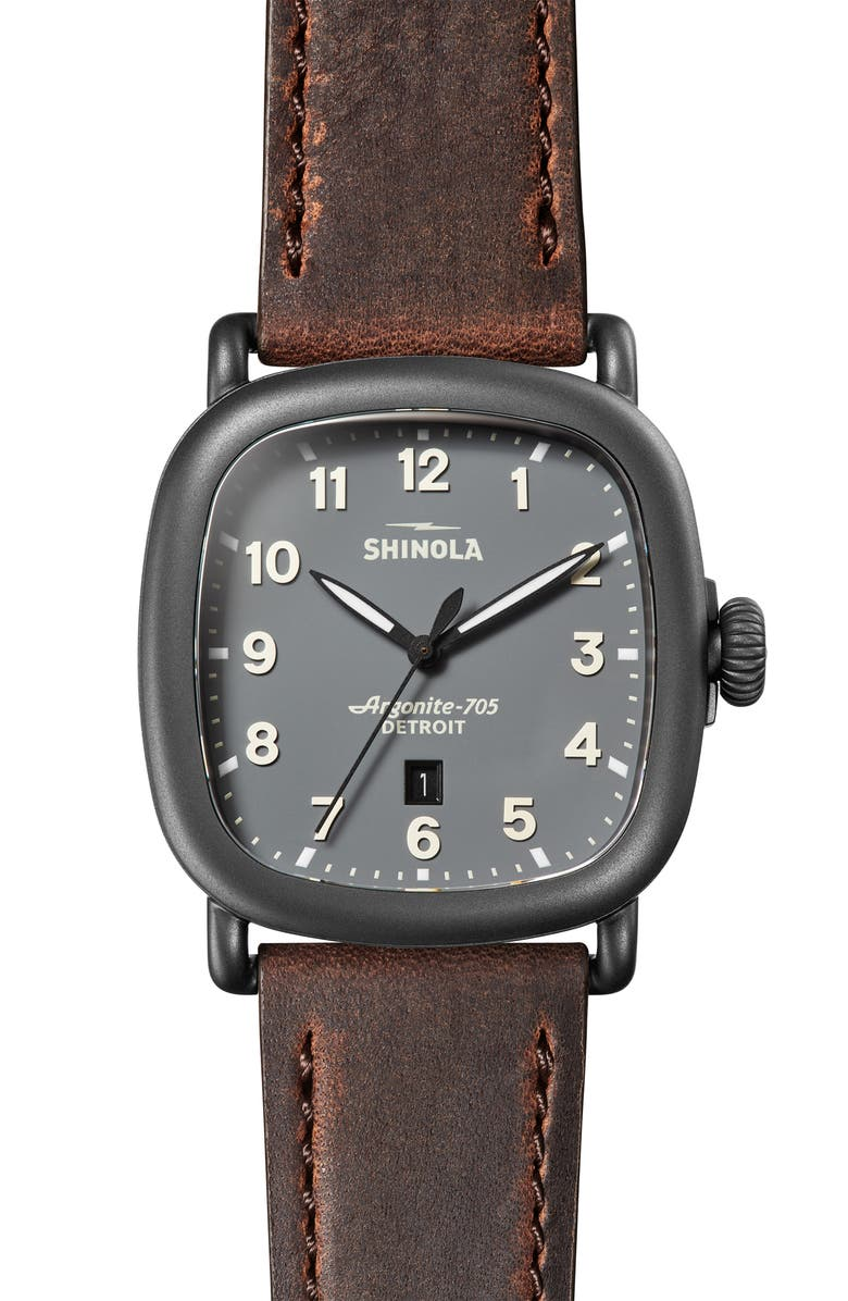 SHINOLA The Guardian Leather Strap Watch, 41.5mm x 43mm, Main, color, 205