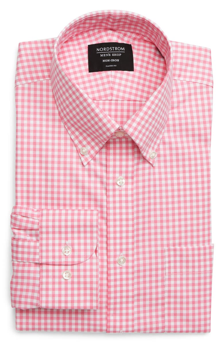 NORDSTROM Classic Fit Non-Iron Gingham Dress Shirt, Main, color, PINK