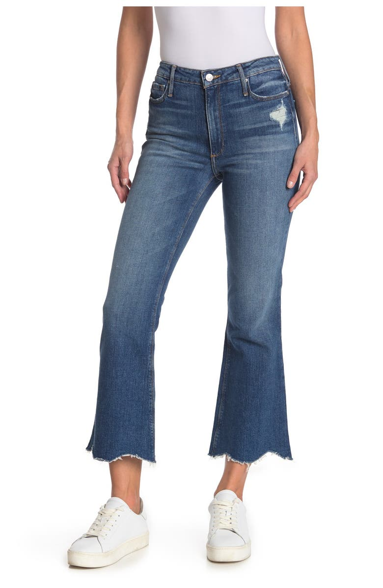 BLACK ORCHID Chrissy Distressed Raw Scallop Hem Kick Flare Jeans, Main, color, NEW RELIGION