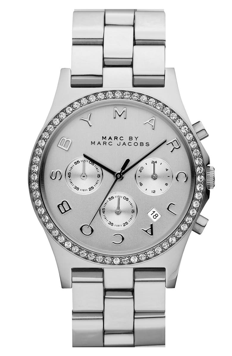 MARC JACOBS 'Henry' Chronograph & Crystal Topring Watch, 40mm, Main, color, 040