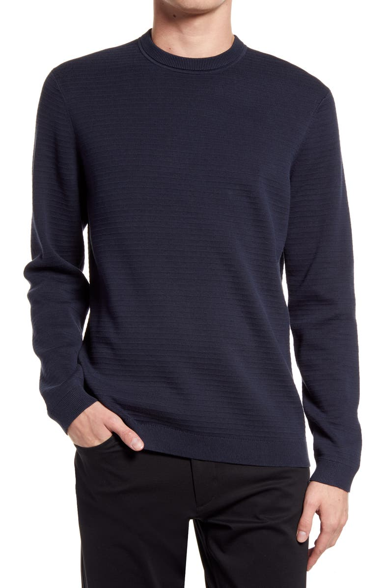 THEORY Stone Crewneck Cotton Sweater, Main, color, GREY HEATHER