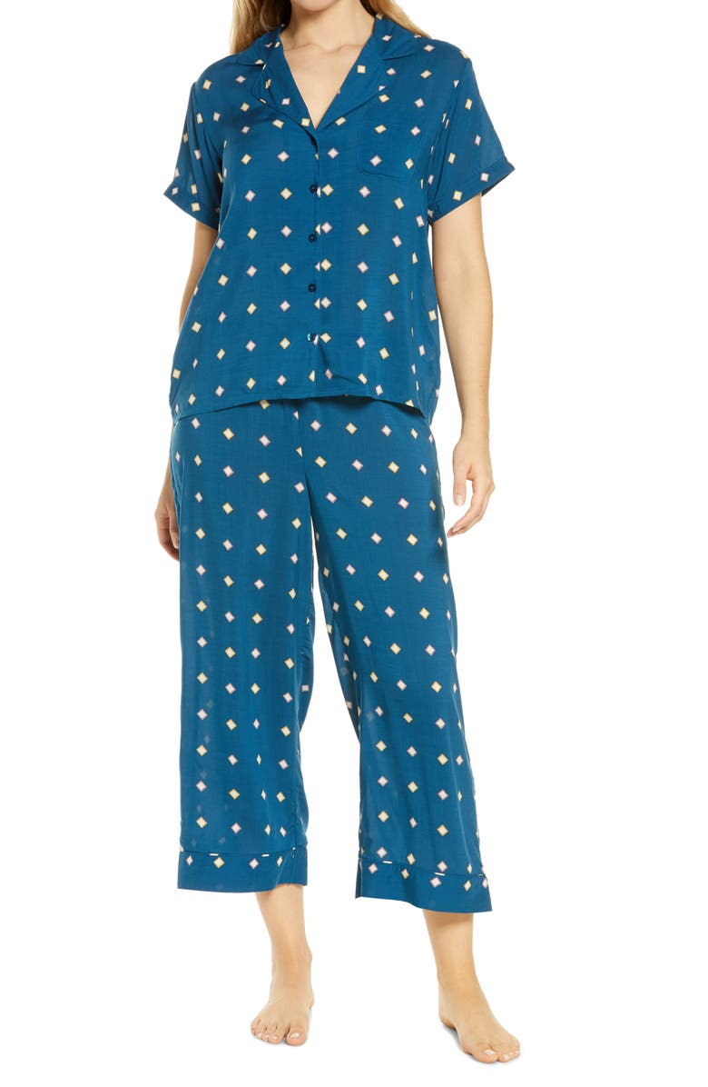NORDSTROM Lingerie Sweet Dreams Crop Pajamas, Main, color, BLUE POSEIDON OPTIC GEO SQUARE
