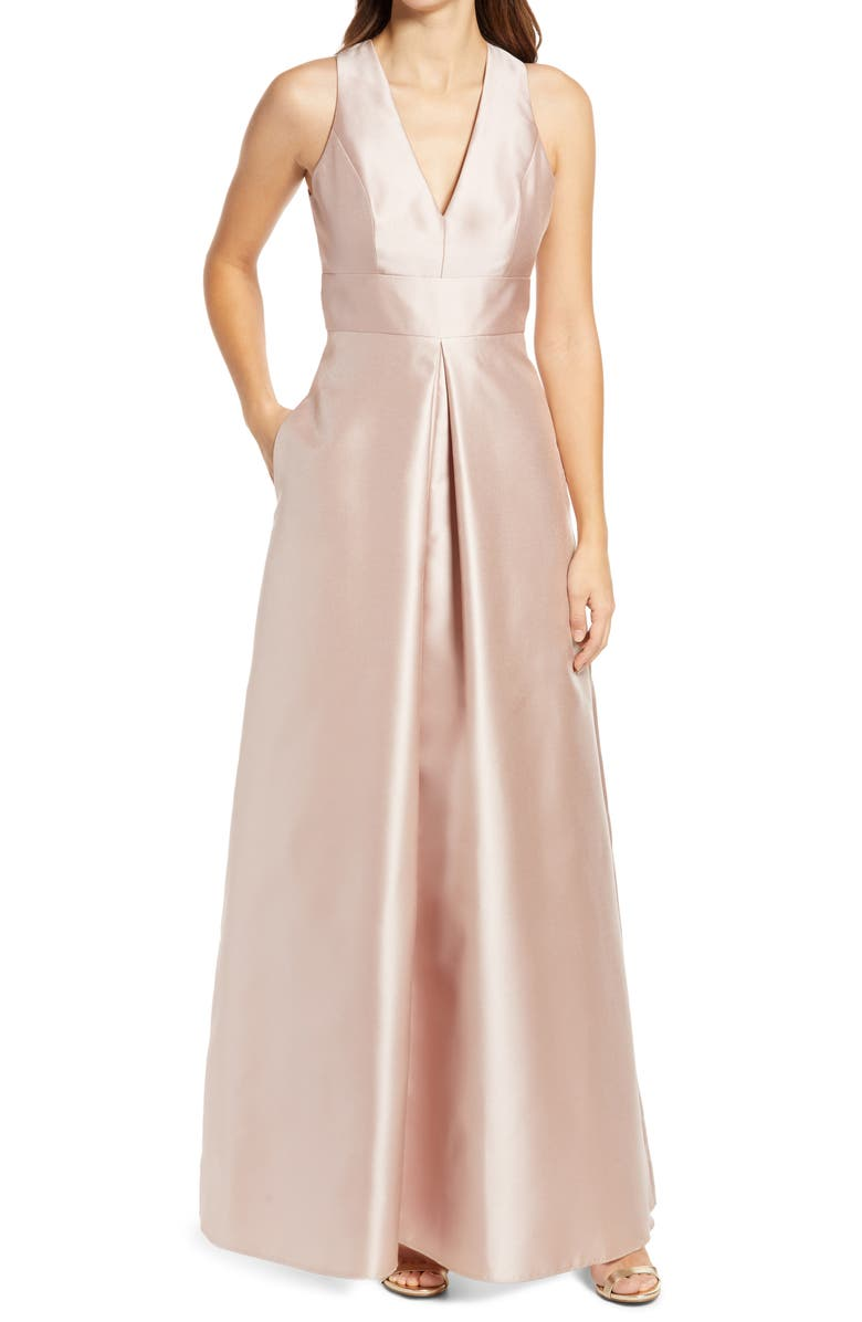 ALFRED SUNG Cutout Back Satin A-Line Gown, Main, color, CAMEO