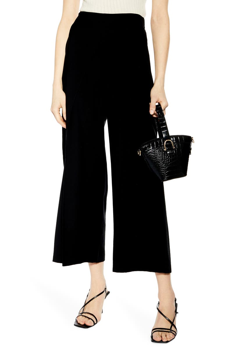 TOPSHOP Slash Cropped Palazzo Trousers, Main, color, 001