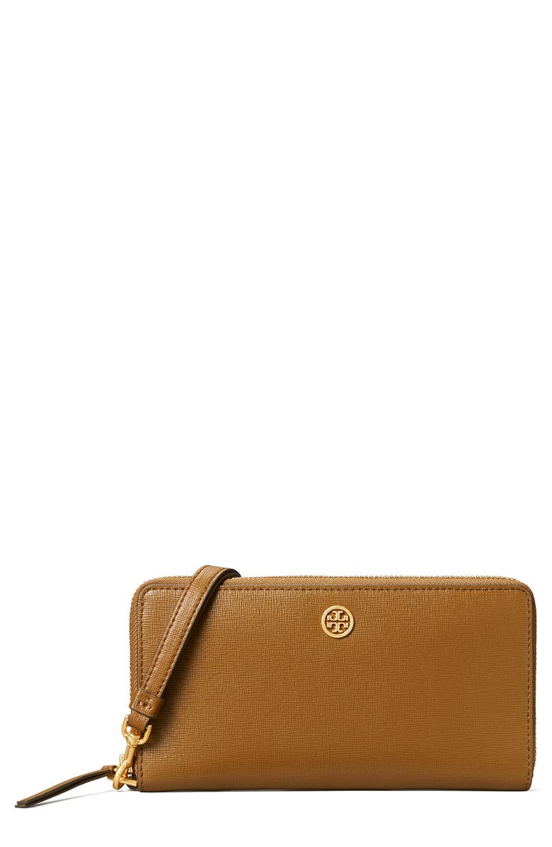 TORY BURCH Robinson Continental Leather Wallet, Main, color, BISTRO BROWN