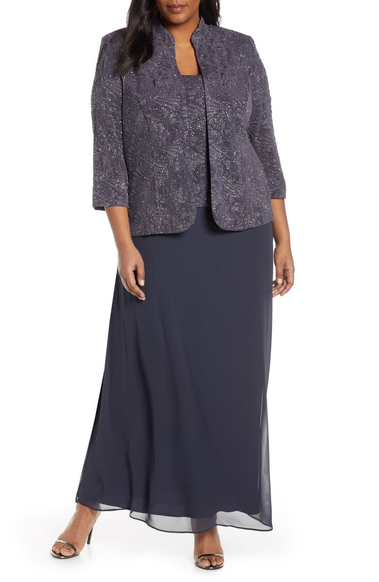 ALEX EVENINGS Mock Two-Piece Gown with Jacket, Main, color, SMOKE