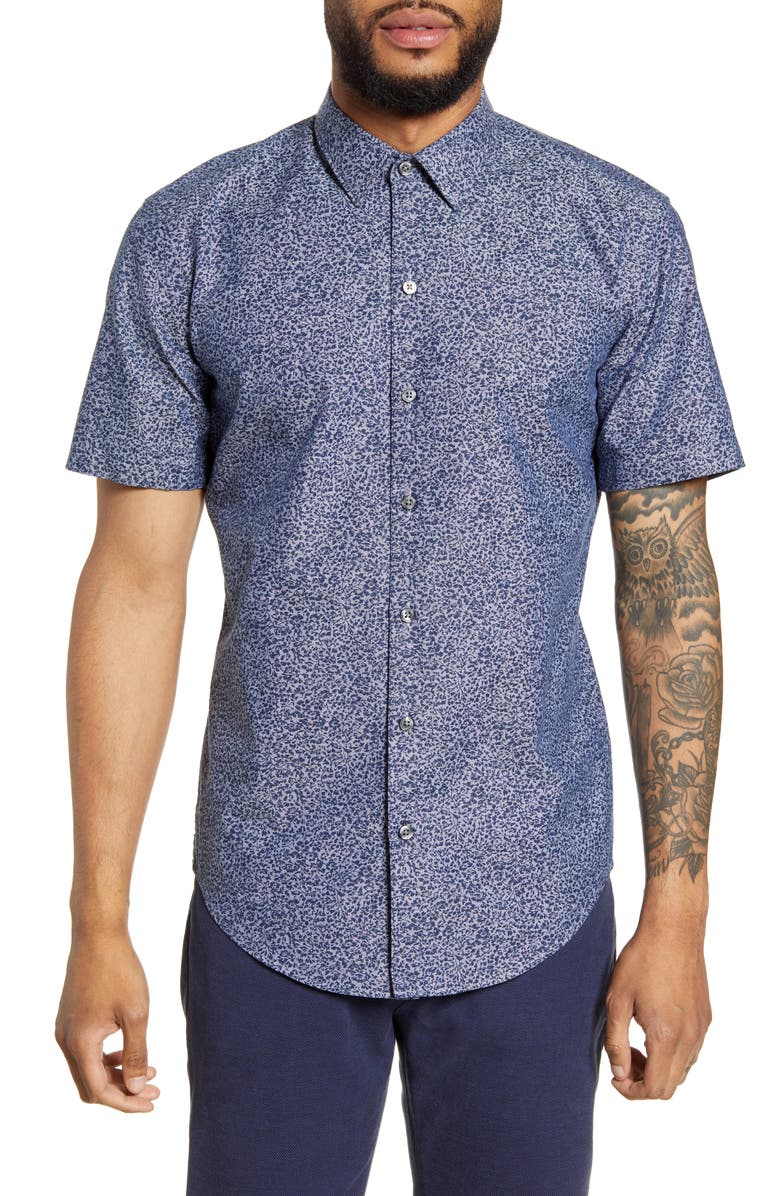 BOSS Robb Sharp Fit Floral Short Sleeve Button-Up Shirt, Main, color, 403