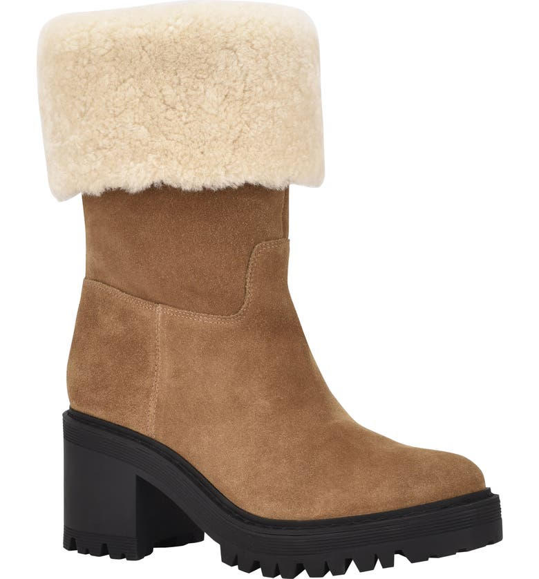 MARC FISHER LTD Willoe Boot with Genuine Shearling Trim, Main, color, CAMEL/ SAHARA SUEDE