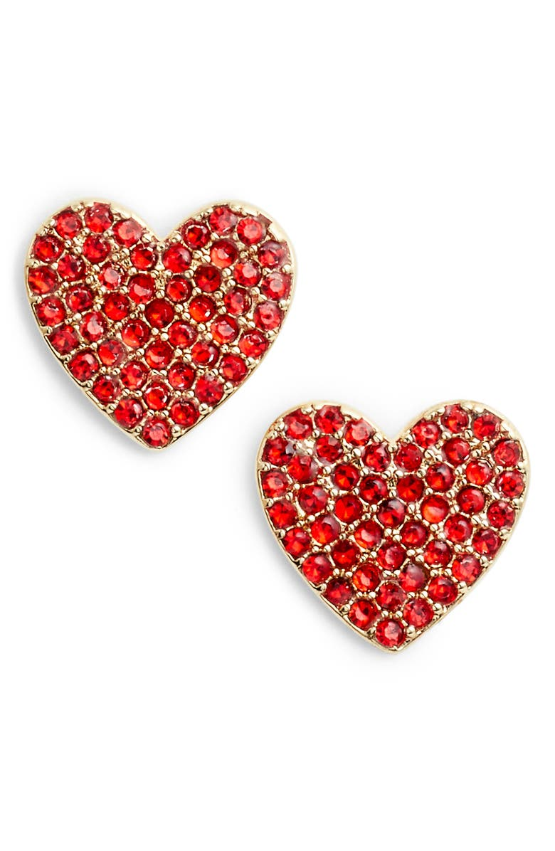 KATE SPADE NEW YORK yours truly pave heart stud earrings, Main, color, 600
