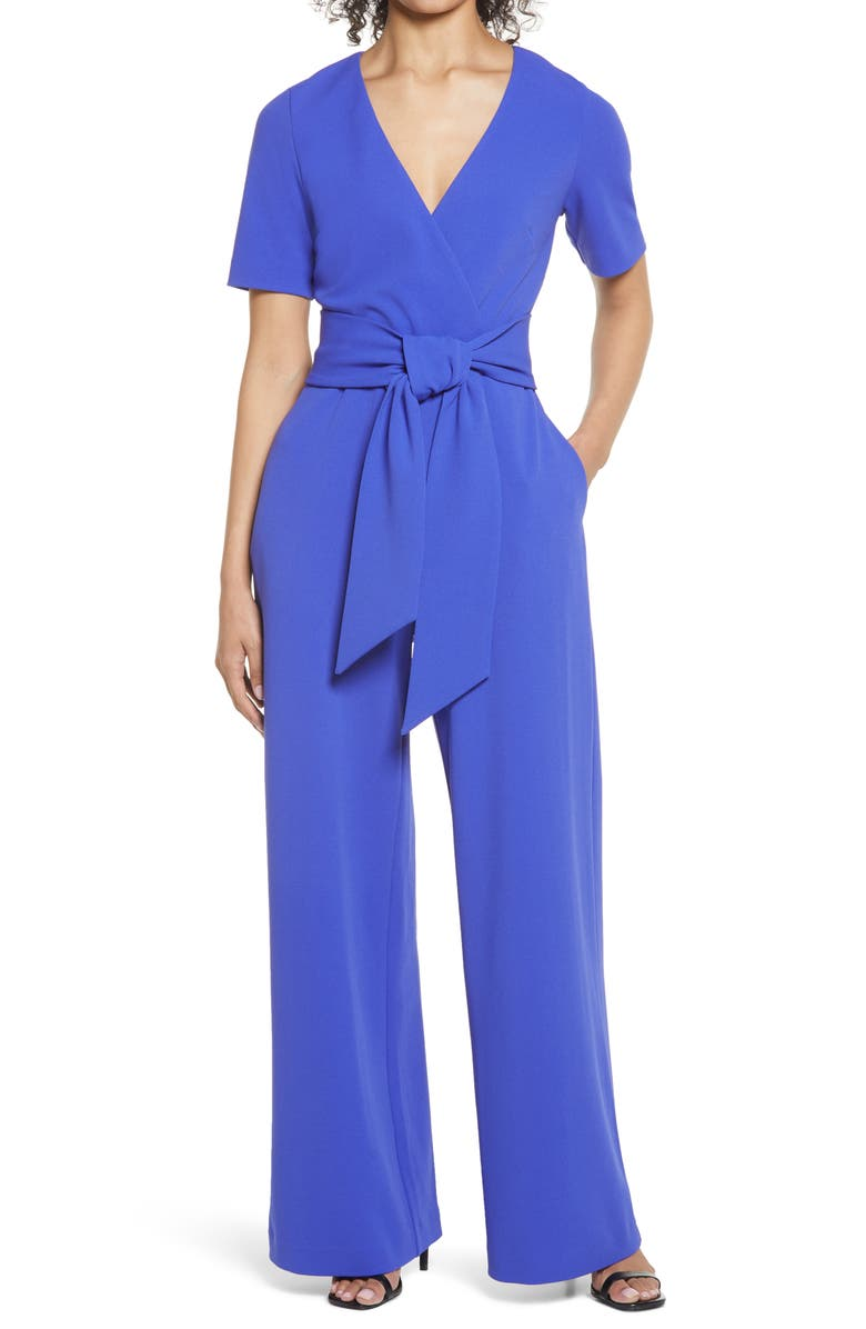 BADGLEY MISCHKA COLLECTION Tie Front Short Sleeve Stretch Crepe Jumpsuit, Main, color, PERIWINKLE