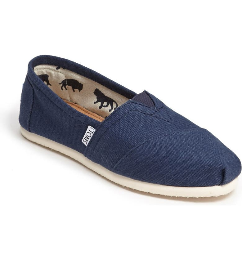 TOMS Classic Canvas Slip-On, Main, color, NAVY CANVAS