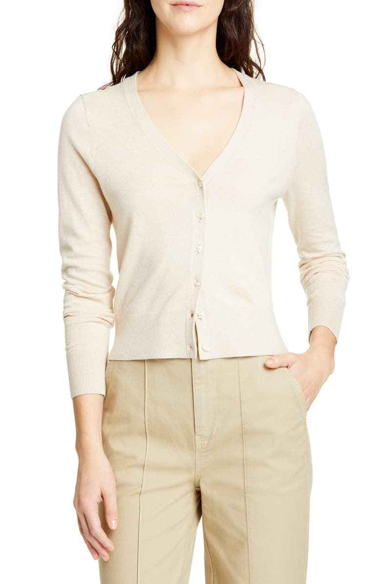 ALEX MILL Crop Cotton Blend Cardigan, Main, color, 200
