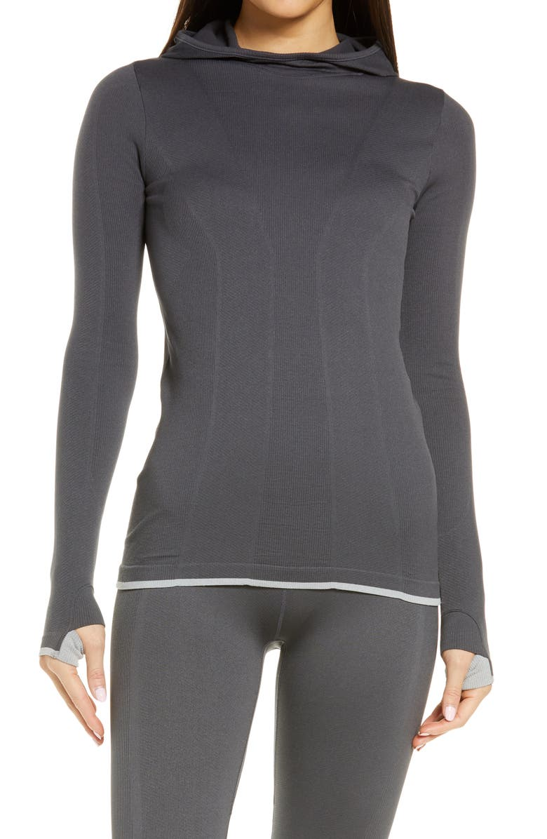 ZELLA Women's Tipped Seamless Hoodie, Main, color, GREY FORGED