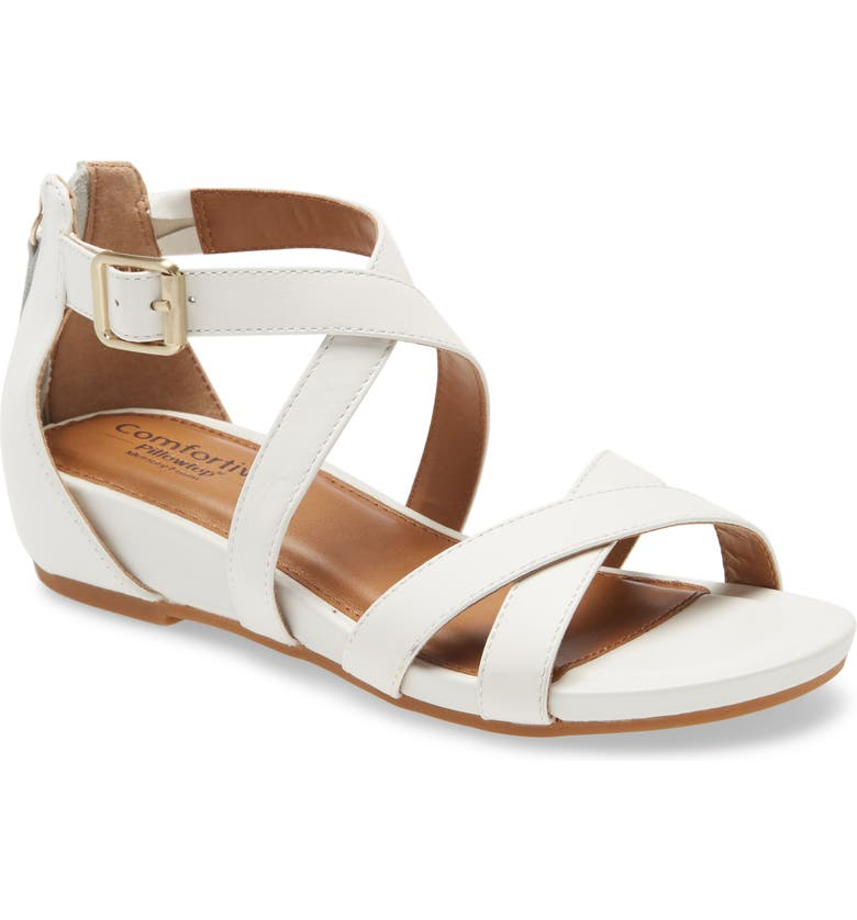 COMFORTIVA Melody Sandal, Main, color, WHITE LEATHER