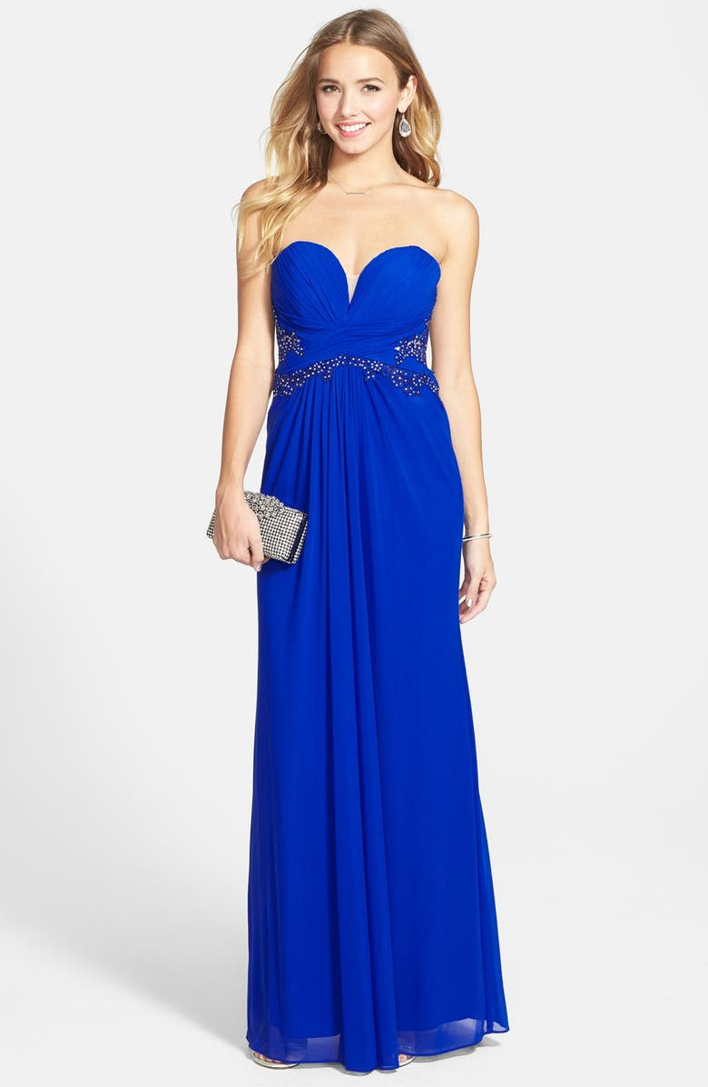 XSCAPE Embellished Mesh Gown, Main, color, 468