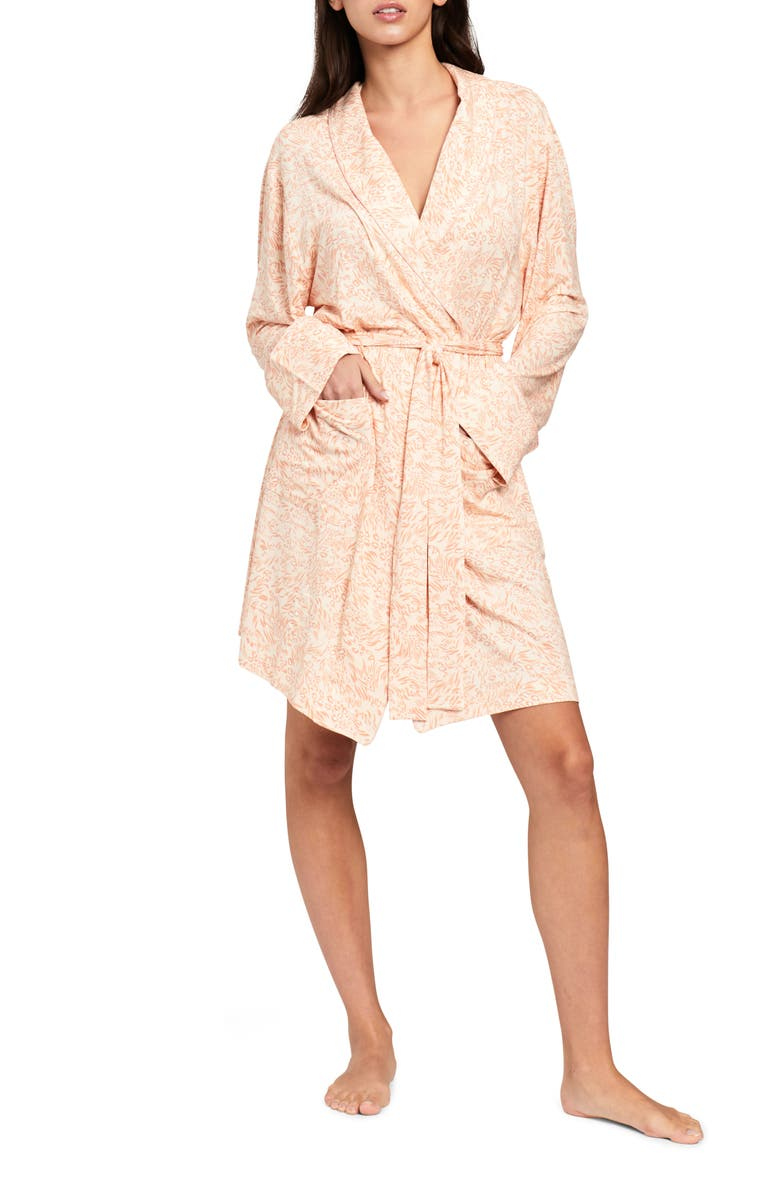 PROJECT REM Animal Print Jersey Robe, Main, color, NUDE