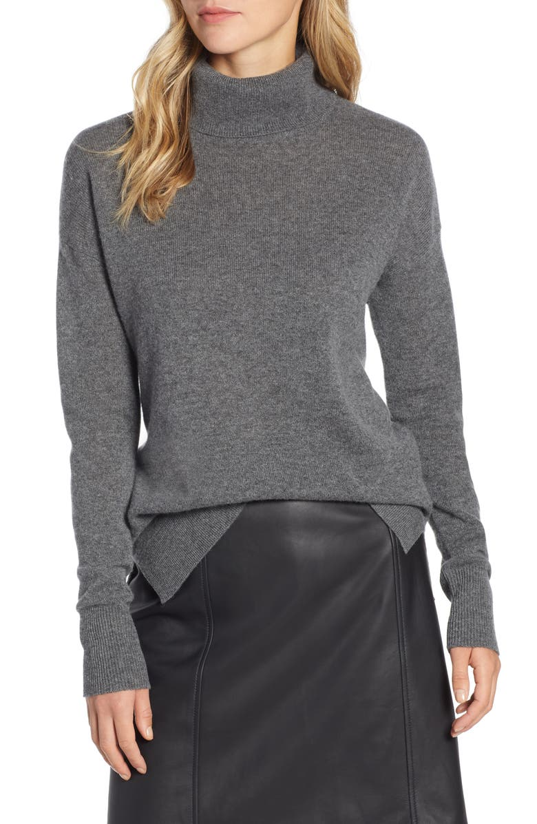 HALOGEN<SUP>®</SUP> Cashmere Turtleneck Sweater, Main, color, GREY DARK HEATHER