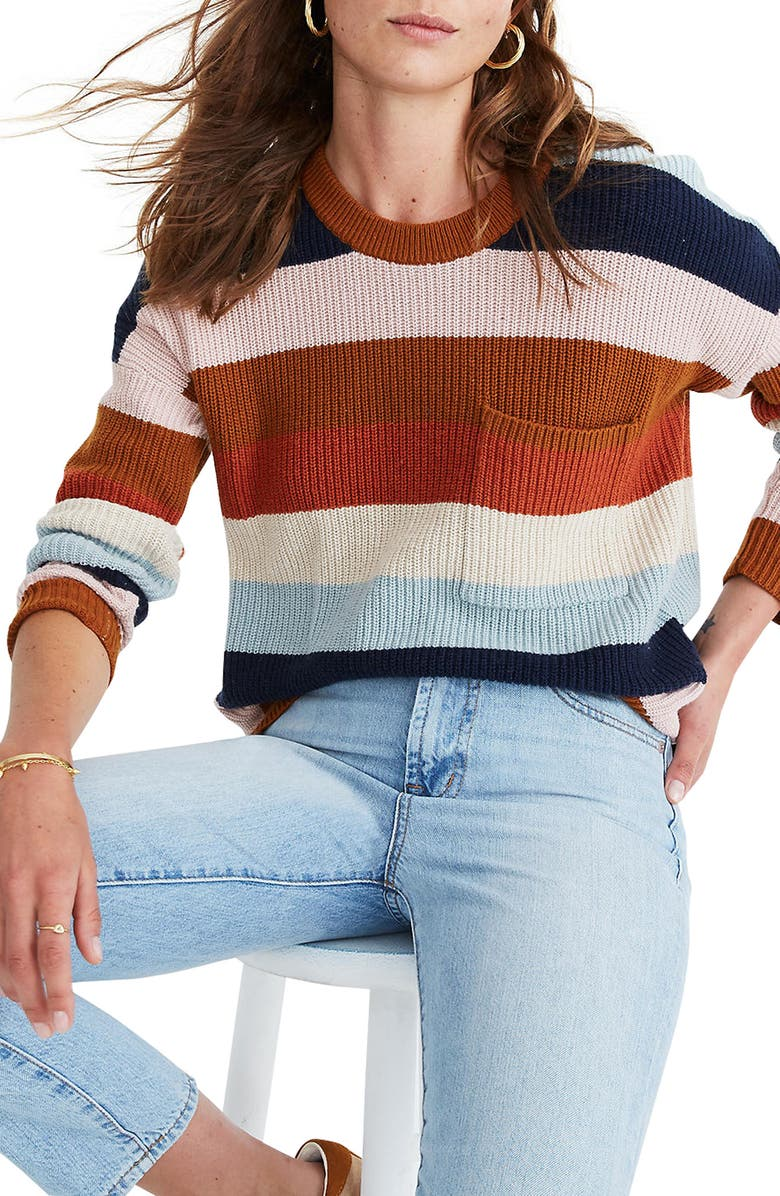 MADEWELL Thompson Rainbow Stripe Pocket Pullover Sweater, Main, color, 200