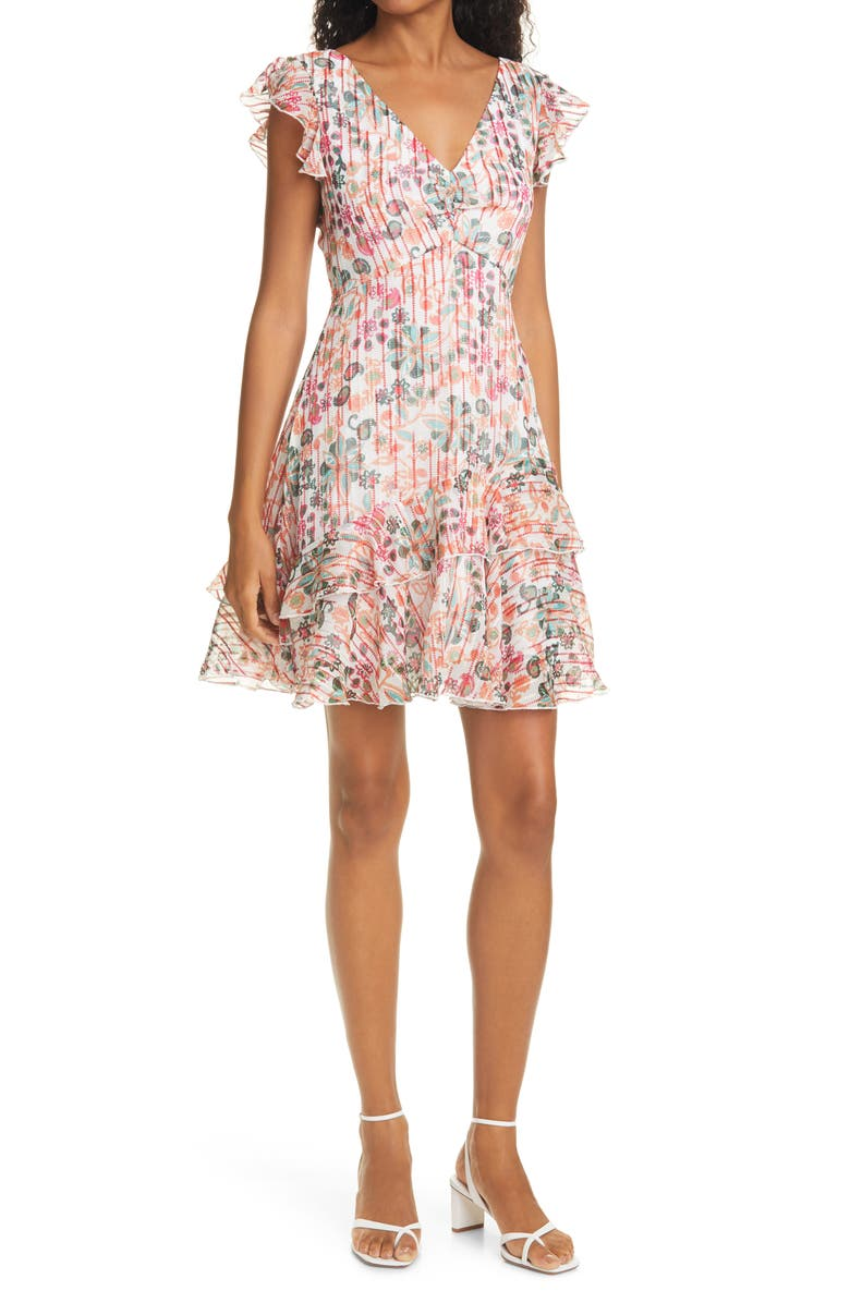 SALONI Catia Floral Print Silk Blend Minidress, Main, color, IVORY SUCCULENT