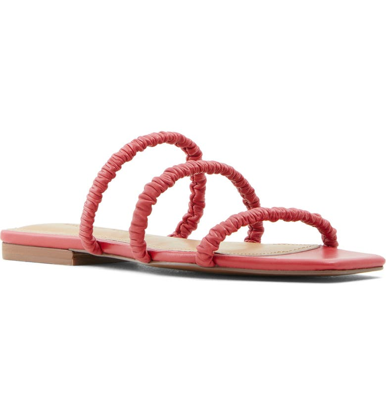 WHO WHAT WEAR Slide Sandal, Main, color, RED NAPPA LEATHER