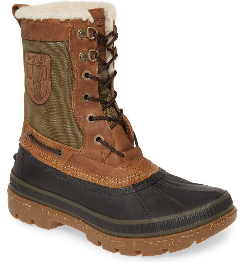 SPERRY Ice Bay Tall Waterproof Snow Boot, Main, color, BROWN/ OLIVE