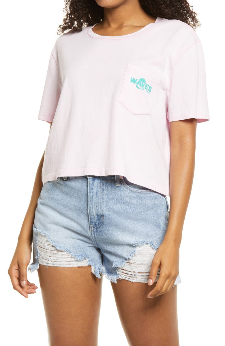 BILLABONG Gone Costal Crop Graphic Tee, Main, color, PINK LADY