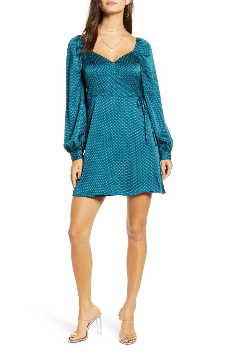 ALL IN FAVOR Sweetheart Neck Satin Wrap Dress, Main, color, 440