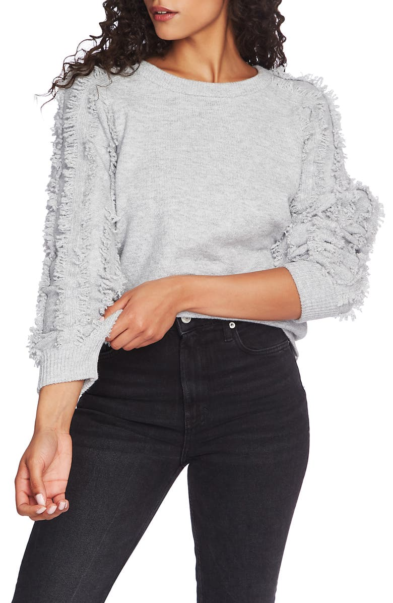 1.STATE Fringe Sleeve Sweater, Main, color, SILVER HEATHER