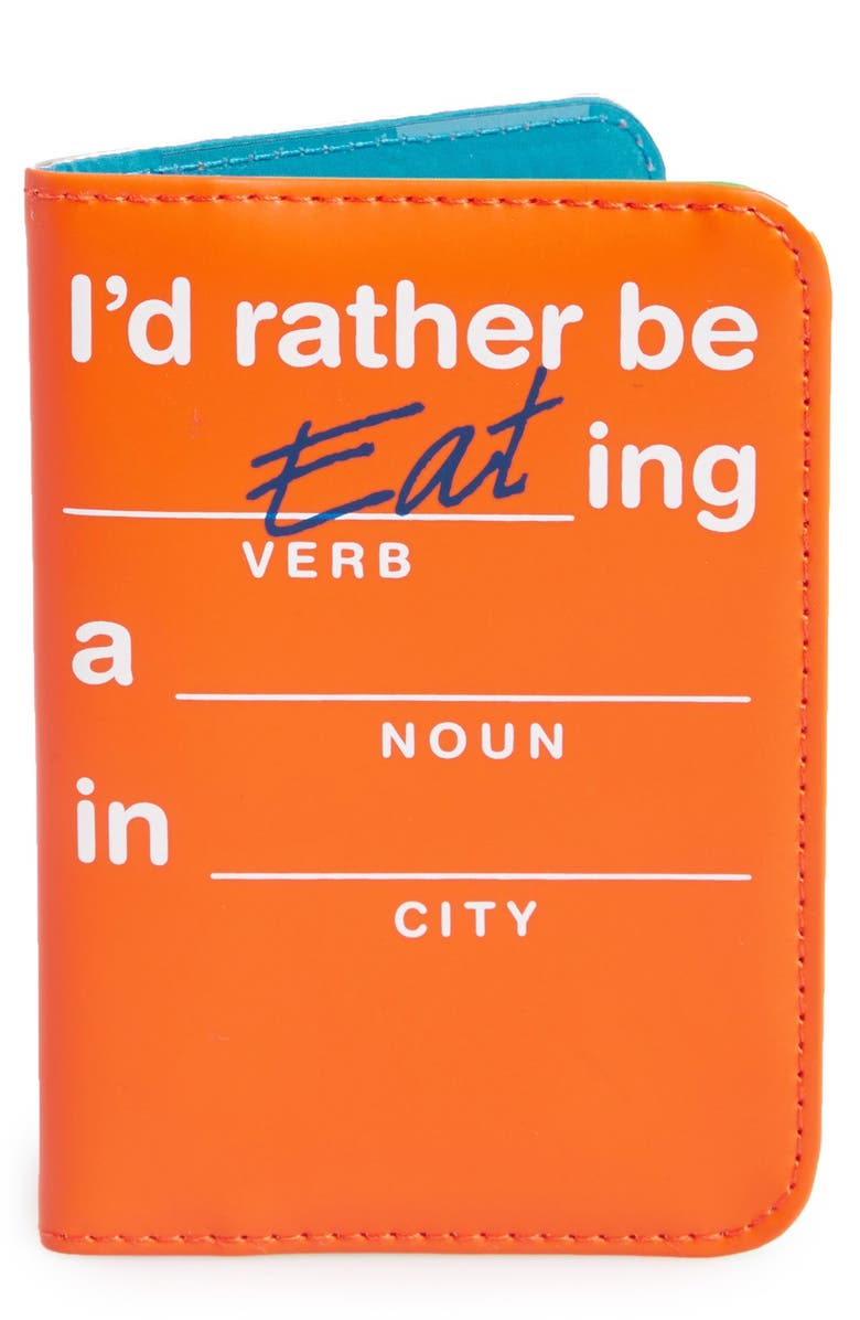 FLIGHT 001 'Flight Libs - I'd Rather be Eating a ____ in _____' Passport Cover, Main, color, Orange