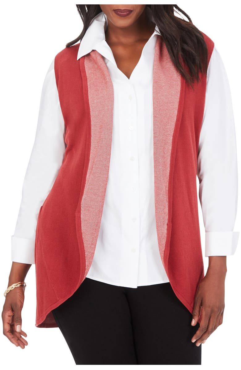 FOXCROFT Ryland Bird's Eye Jacquard Vest, Main, color, ROSEWOOD