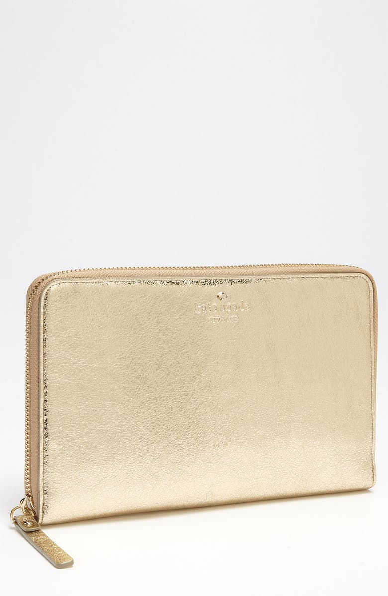 KATE SPADE NEW YORK 'harrison street' metallic travel wallet, Main, color, 711