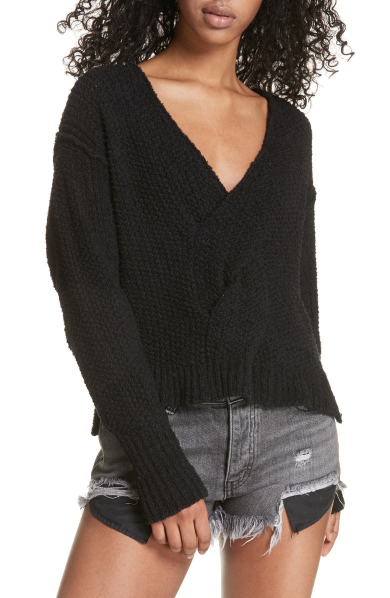 FREE PEOPLE Coco V-Neck Sweater, Main, color, BLACK