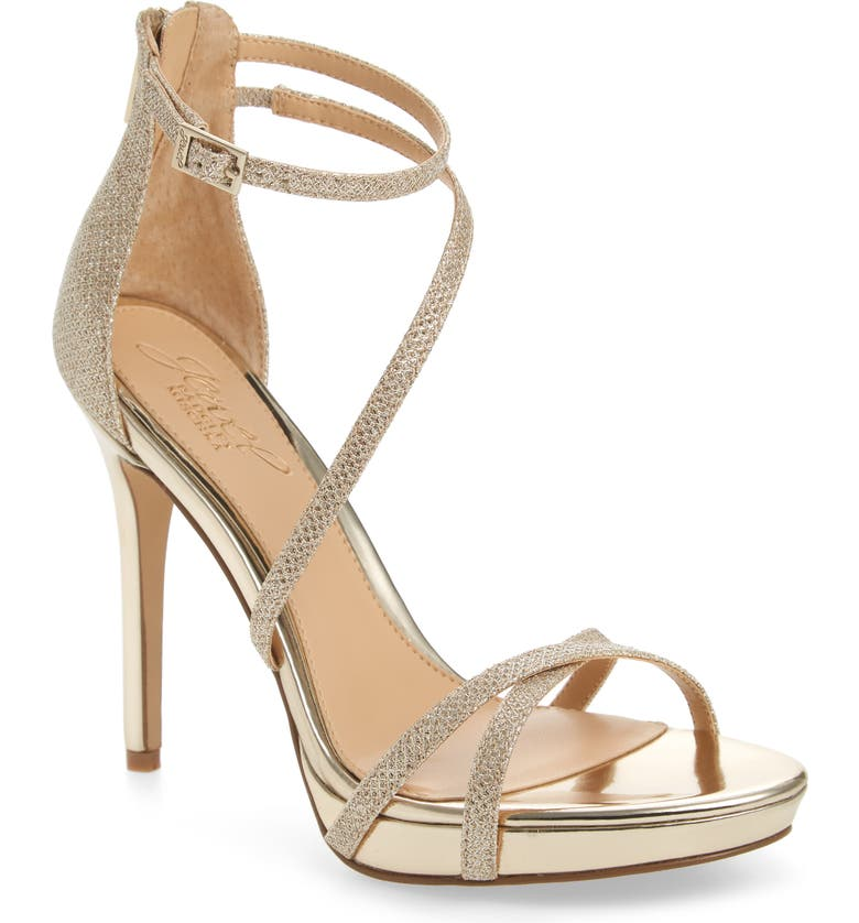 JEWEL BADGLEY MISCHKA Galen Strappy Platform Sandal, Main, color, GOLD GLITTER FABRIC