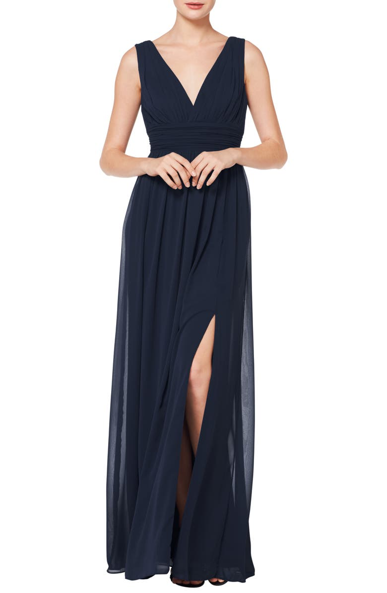 #LEVKOFF V-Neck Pleat Chiffon A-Line Gown, Main, color, 410