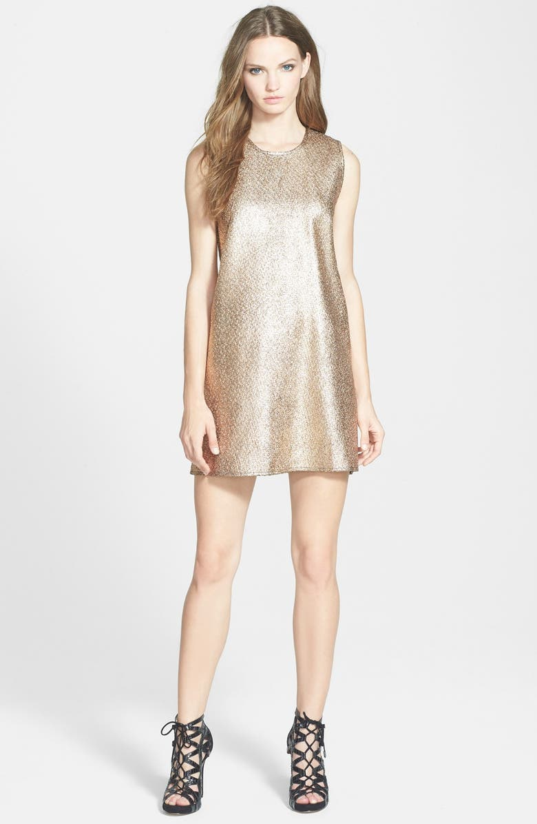 WHITNEY EVE 'Butterfly Ginger' Shift Dress, Main, color, METALIC GOLD