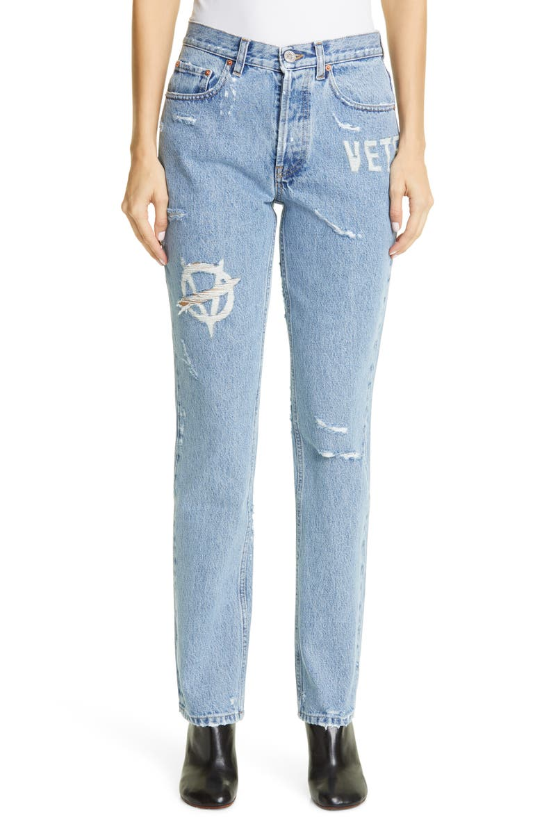 VETEMENTS Anarchy Ripped High Waist Slim Jeans, Main, color, 400