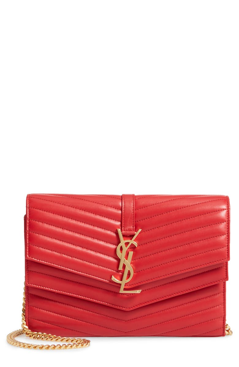 SAINT LAURENT Sulpice Leather Crossbody Wallet, Main, color, 604