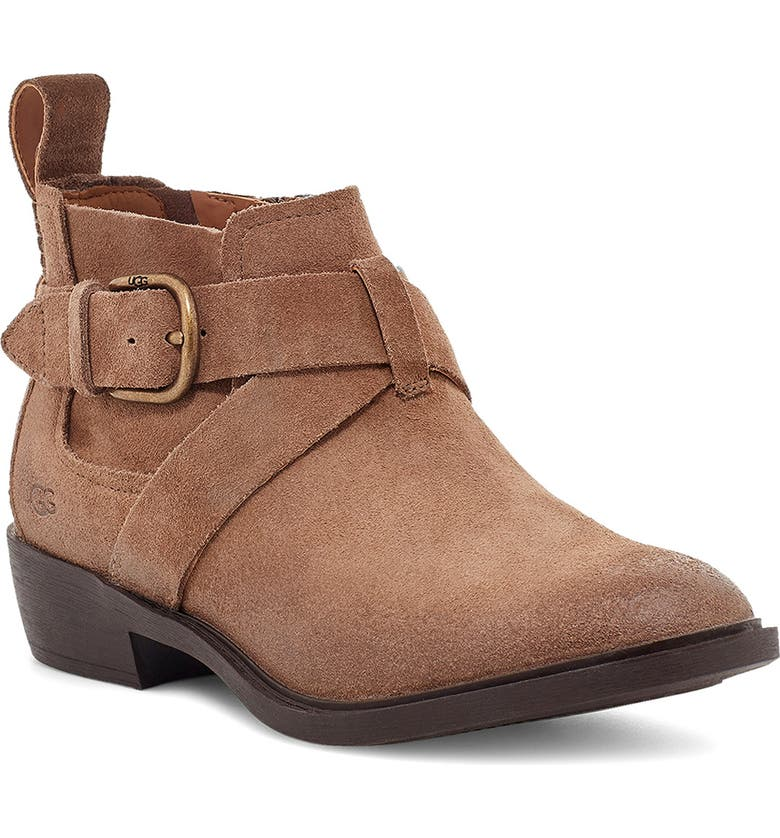 UGG<SUP>®</SUP> Wylma Waterproof Bootie, Main, color, COFFEE GROUNDS SUEDE
