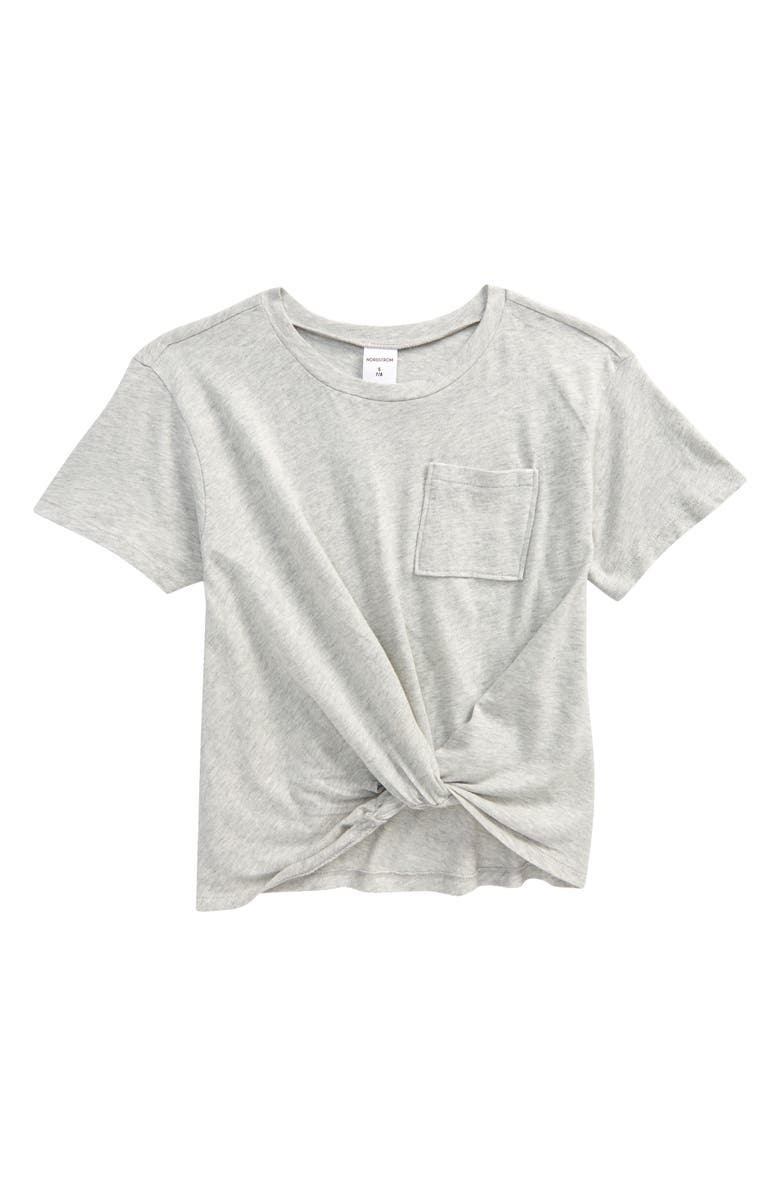 NORDSTROM Kids' Knot Front T-Shirt, Main, color, GREY HEATHER