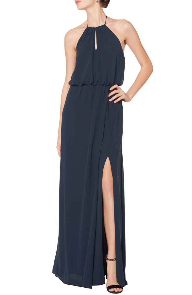 #LEVKOFF Blouson Chiffon A-Line Gown, Main, color, NAVY