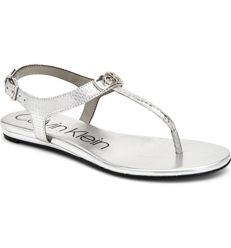 CALVIN KLEIN Shamary T-Strap Sandal, Main, color, SILVER SNAKE PRINT LEATHER