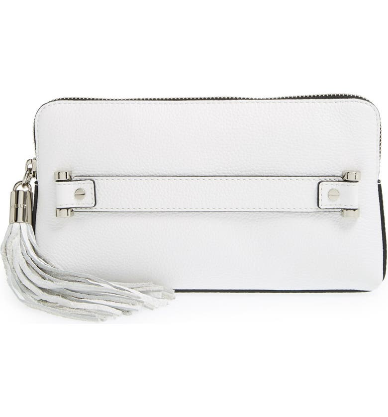 MILLY 'Astor' Pebbled Leather Clutch, Main, color, 100