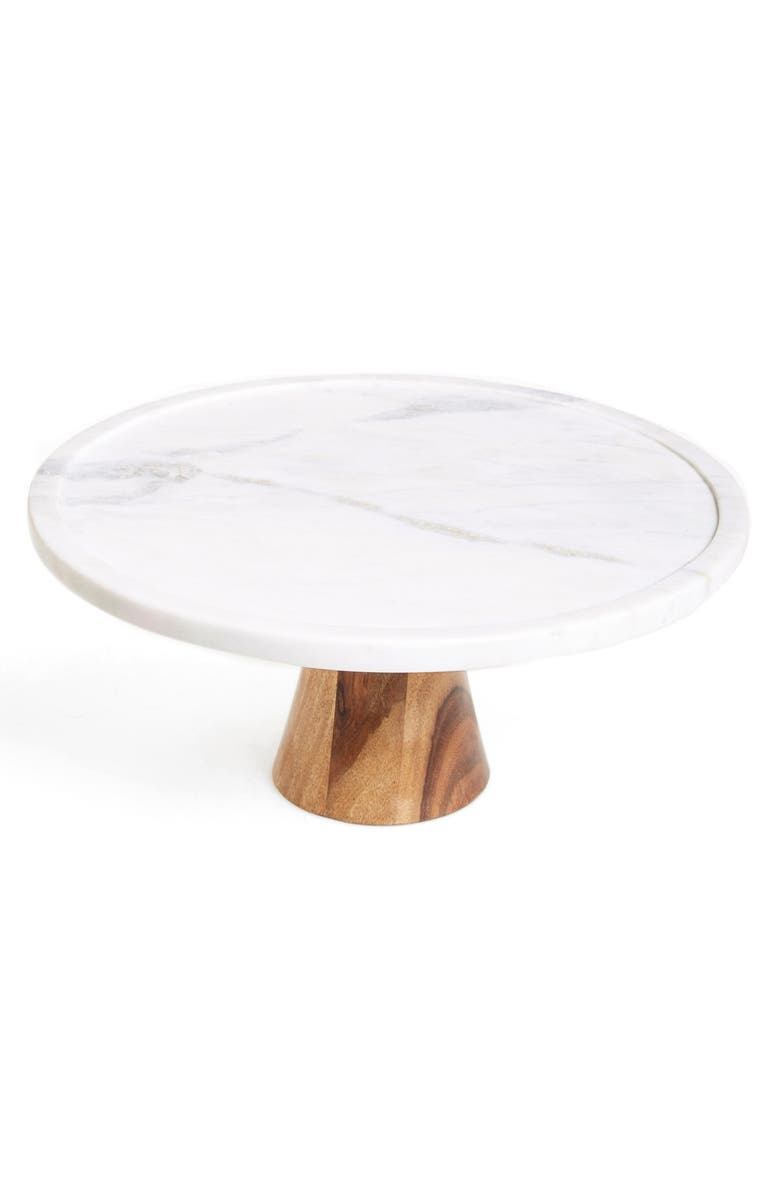 THIRSTYSTONE Marble & Wood Cake Stand, Main, color, 100
