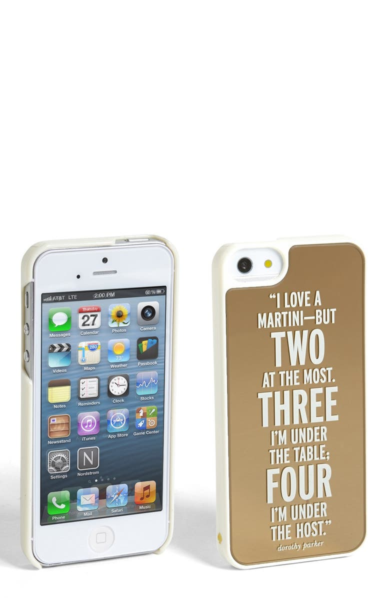 KATE SPADE NEW YORK 'I Love a Martini — But Two at the Most. Three I'm Under the Table; Four I'm Under the Host' iPhone 5 & 5s case, Main, color, 710