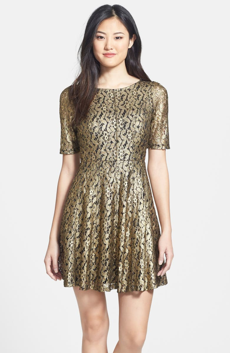 FELICITY & COCO Metallic Lace Fit & Flare Dress, Main, color, 710