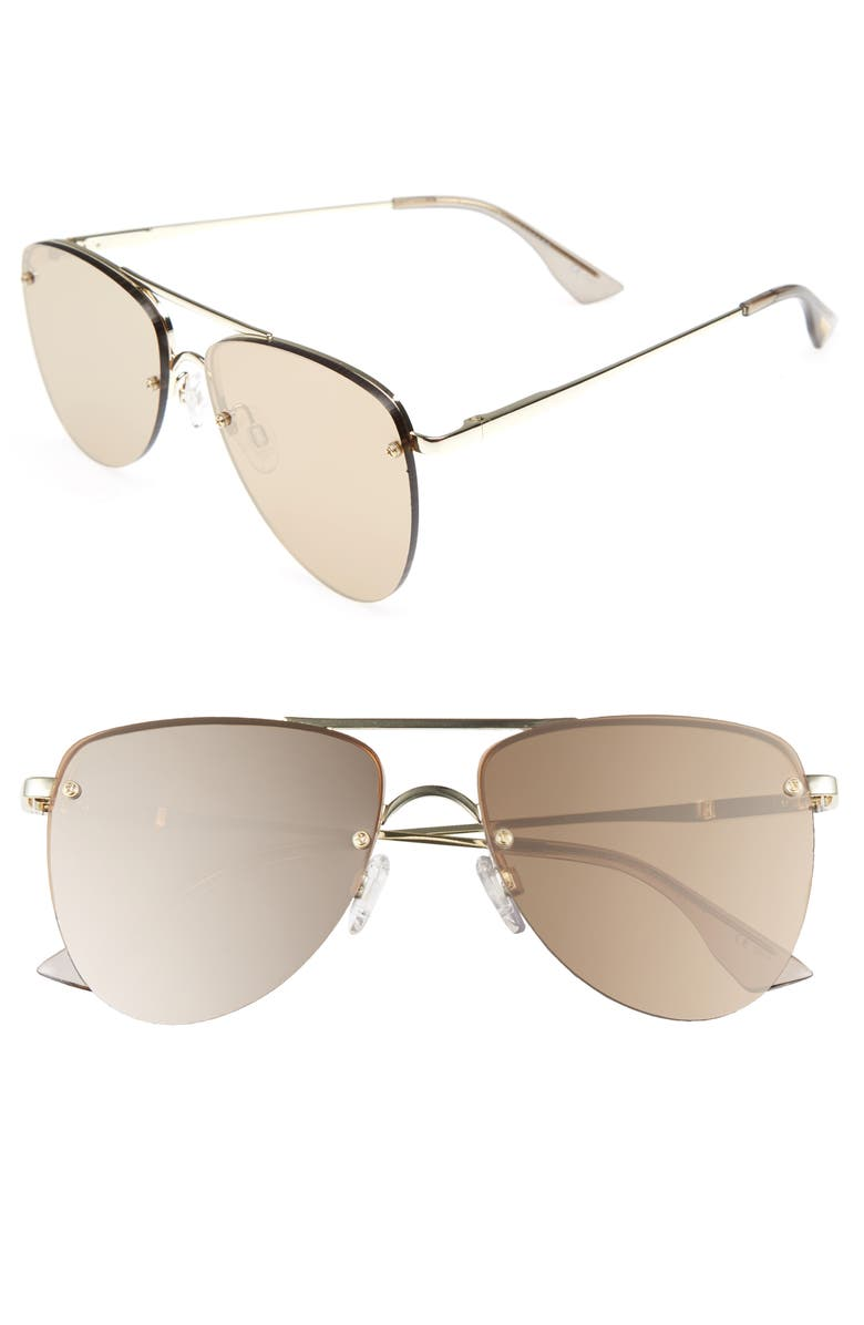 LE SPECS The Prince 59mm Mirrored Rimless Aviator Sunglasses, Main, color, 710