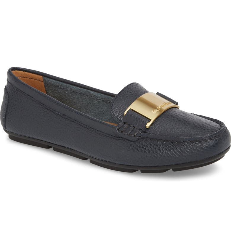CALVIN KLEIN Lisette Loafer, Main, color, DEEP NAVY LEATHER