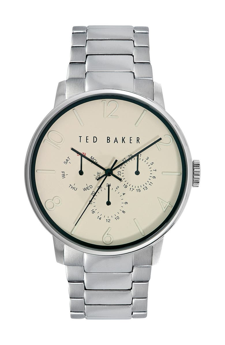 TED BAKER LONDON Multifunction Leather Strap Watch, 42mm, Main, color, 000