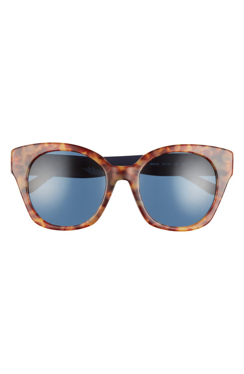 TORY BURCH 52mm Cat Eye Sunglasses, Main, color, SPOTTED TORT/ BLUE SOLID