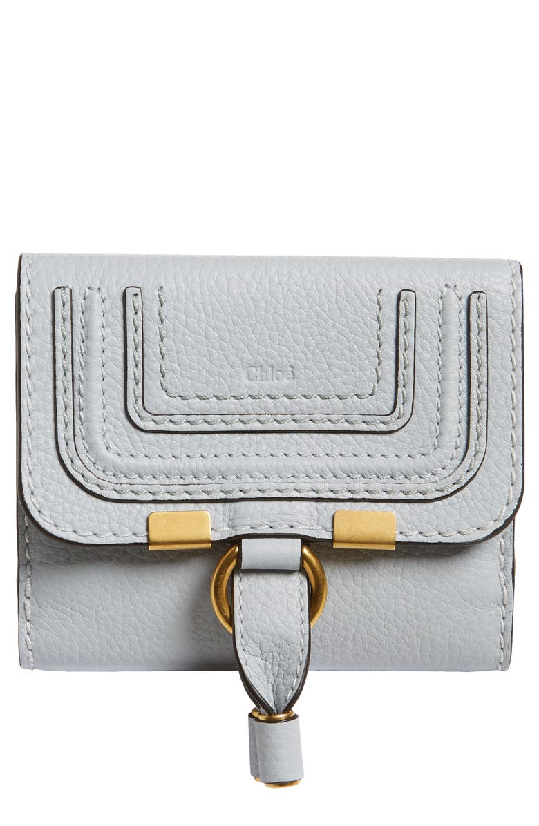 CHLOÉ Marcie Leather French Wallet, Main, color, LIGHT CLOUD